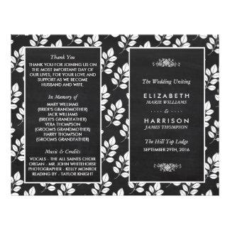 Chalkboard Floral Leaf Wedding Program Flyer