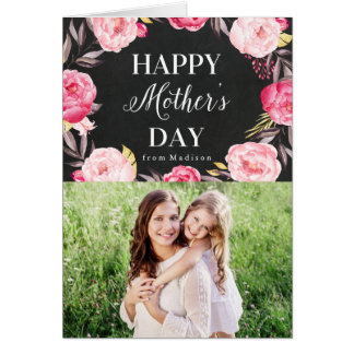 Chalkboard Floral | Mother's Day Photo Card