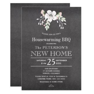 Chalkboard floral rustic housewarming bbq card