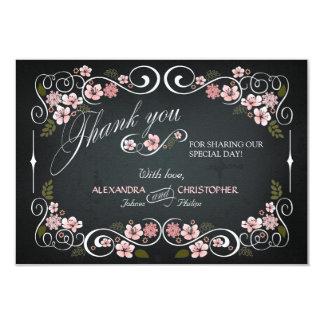 Chalkboard Floral Vintage Bold Thank You Card