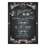 Chalkboard Floral Vintage Bold Wedding Announcement