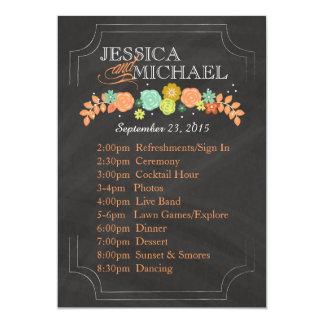 "Chalkboard Floral Wedding Program ITINERARY CARD 5"" X 7"" Invitation Card"