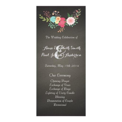 Chalkboard floral wedding programs custom rack card