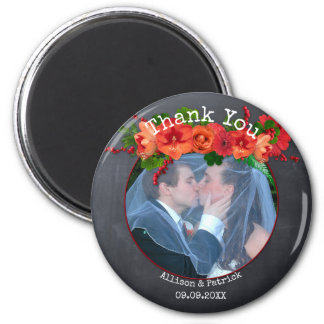 Chalkboard Floral Wedding Thank You Photo Magnet