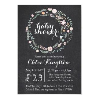 Chalkboard Floral Wreath Baby Shower Invitation