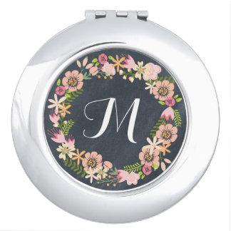 Chalkboard floral wreath monogram mirror compact vanity mirror