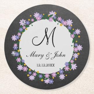 Chalkboard Floral Wreath Monogram Wedding Round Paper Coaster