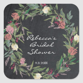chalkboard floral wreath shower favors sticker