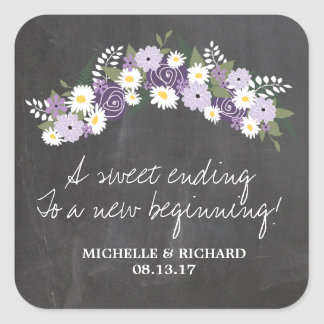 Chalkboard Floral Wreath Wedding Square Sticker