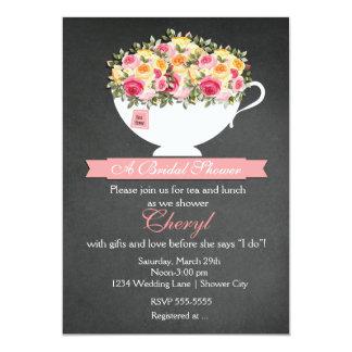 Chalkboard Flower Tea Cup Bridal Shower Invitation