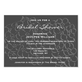 Chalkboard flowers bridal shower invitations