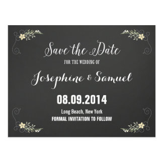 Chalkboard Flowers Save The Date Announcement Postcard