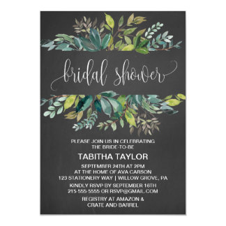 Chalkboard Foliage Bridal Shower Card
