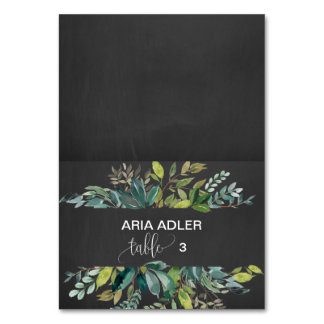 Chalkboard Foliage Escort Place Cards