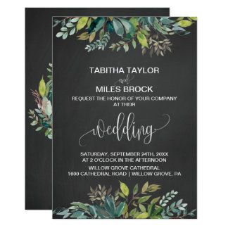 Chalkboard Foliage Monogram Wreath Backing Wedding Card