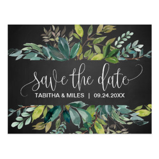 Chalkboard Foliage Save the Date Postcard
