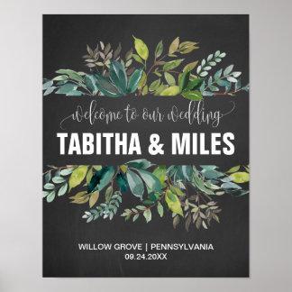 Chalkboard Foliage Wedding Welcome Poster