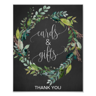 Chalkboard Foliage Wreath Cards and Gifts Sign