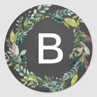 Chalkboard Foliage Wreath Monogram Envelope Seals