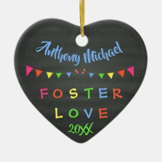 Chalkboard Foster Love - Banners Custom Name Date Ceramic Ornament