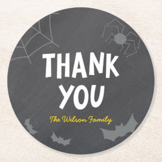 Chalkboard Frightful Creatures Halloween Thank You Round Paper Coaster