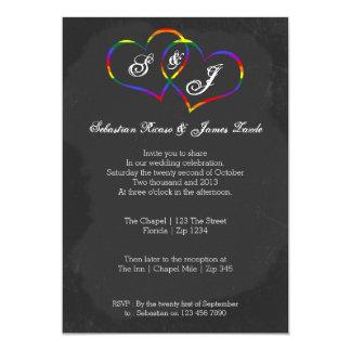 Chalkboard Gay Pride Rainbow Heart Doodle Wedding 13 Cm X 18 Cm Invitation Card