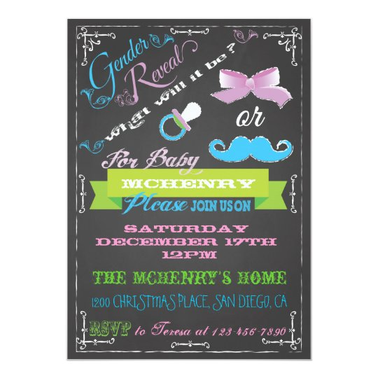 Chalkboard Gender Reveal Party Invitations
