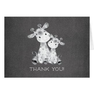 Chalkboard Giraffe  Baby Shower Thank You Note Card