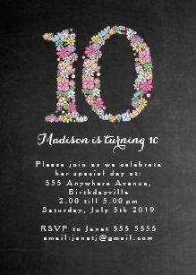 10th birthday invitations zazzle chalkboard girls floral 10th birthday party invite filmwisefo