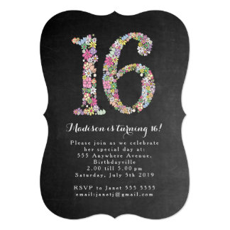 Chalkboard Girls Floral 16th Birthday Party Invite