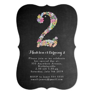 Chalkboard Girls Floral 2nd Birthday Party Invite