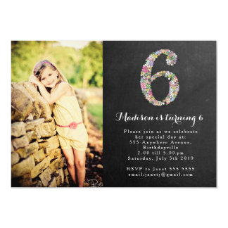 Chalkboard Girls Floral 6th Birthday Party Invite