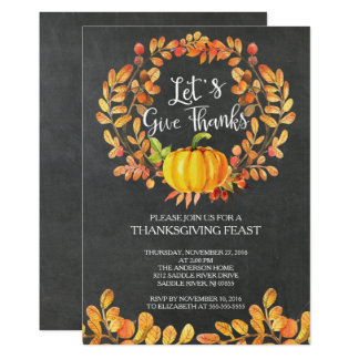 Chalkboard Give Thanks PumpkinThanksgiving Dinner Card