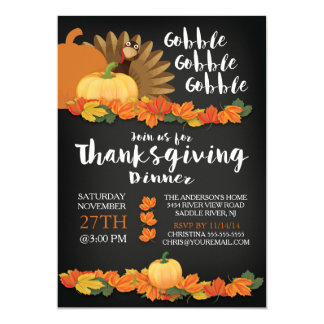 Chalkboard Gobble Turkey Thanksgiving Invitation