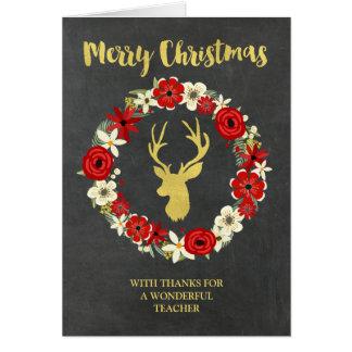 Chalkboard Gold Deer Wreath Christmas Teacher Card