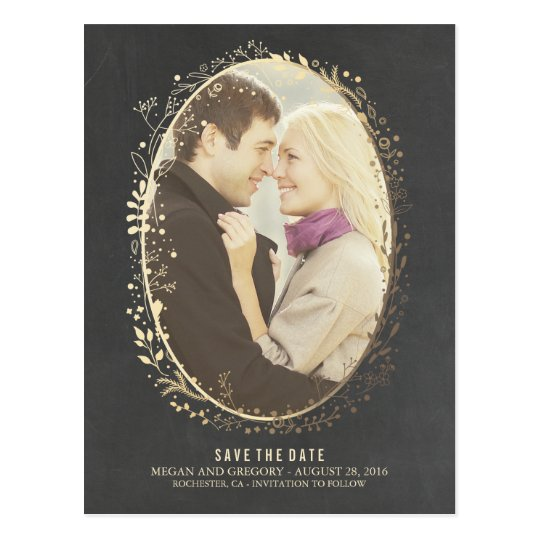 chalkboard gold floral frame photo save the date postcard