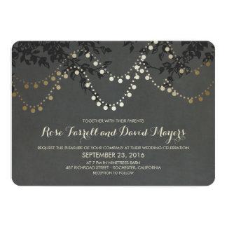 Chalkboard Gold Foil String Lights Wedding Card