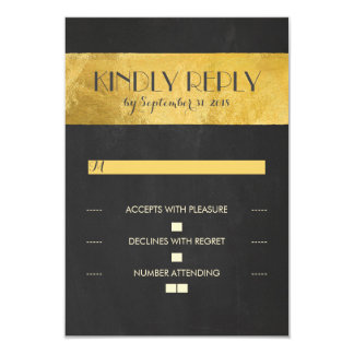 Chalkboard gold foil wedding RSVP cards 9 Cm X 13 Cm Invitation Card