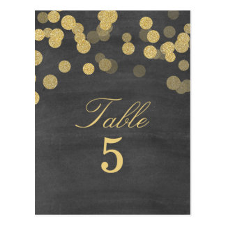 Chalkboard Gold Glitter Wedding Table Number Postcard