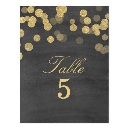 Chalkboard Gold Glitter Wedding Table Number Post Cards