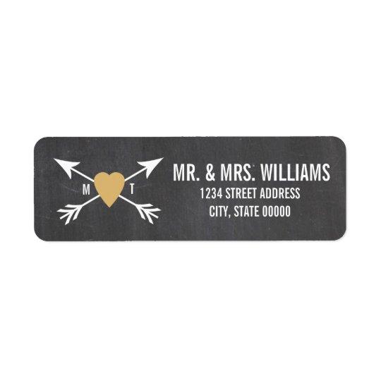 Chalkboard Gold Heart + Arrow  | Wedding Labels