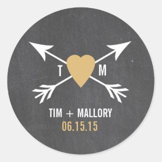 Chalkboard Gold Heart + Arrow   Wedding Stickers