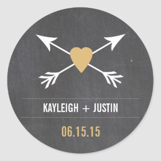 Chalkboard  Gold Heart + Arrow | Wedding Stickers