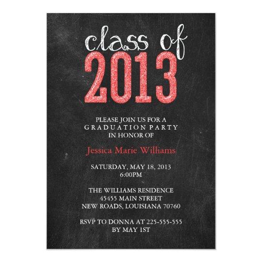 Chalkboard Graduation Party | Glitter Card