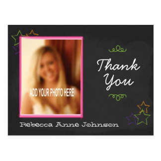 Chalkboard Graduation Thank You with Photo Postcard