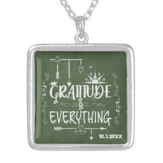 Chalkboard Gratitude is Everything Dated Silver Plated Necklace