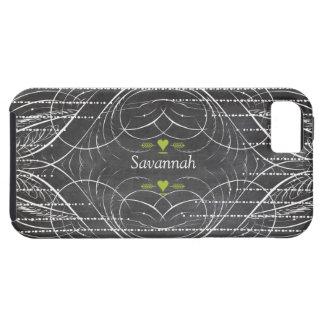 Chalkboard Green Heart Black iphone 5 case