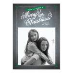 Chalkboard Green Mistletoe Holiday Photo Card Custom Announcement