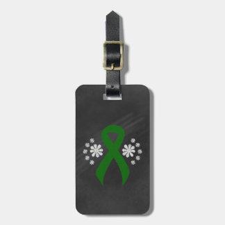 Chalkboard Green Ribbon Luggage Tag