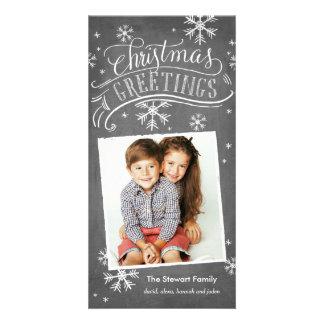 Chalkboard Greetings 1-Photo Snowflake Holiday Card
